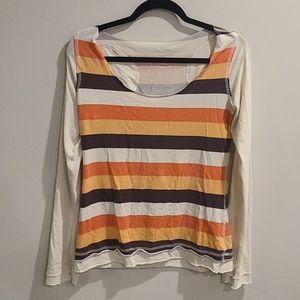 Lululemon striped long sleeve raw edge